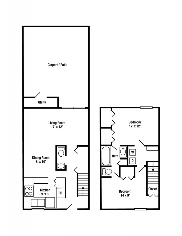 Two Bedroom and One Half Bath Townhome | Presidential Apartments and Townhomes
