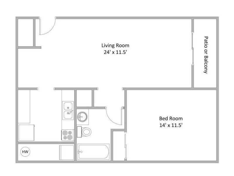 1 Bedroom Floor Plan | Quail Hollow