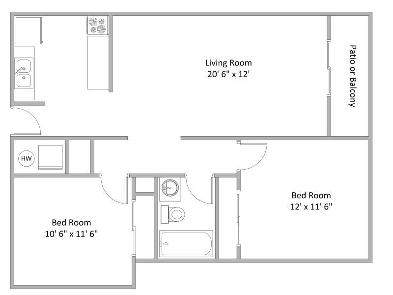 2 Bedroom Floor Plan | Quail Hollow