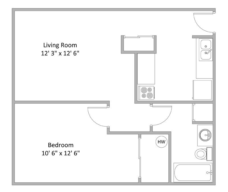 1 Bedroom Floor Plan | Thackeray Apartments