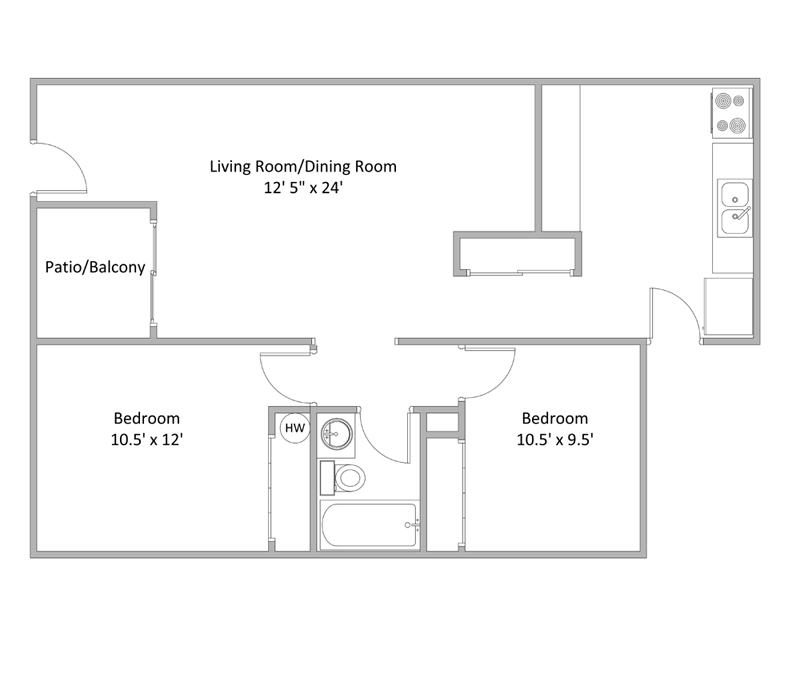 2 Bedroom Floor Plan | Thackeray Apartments