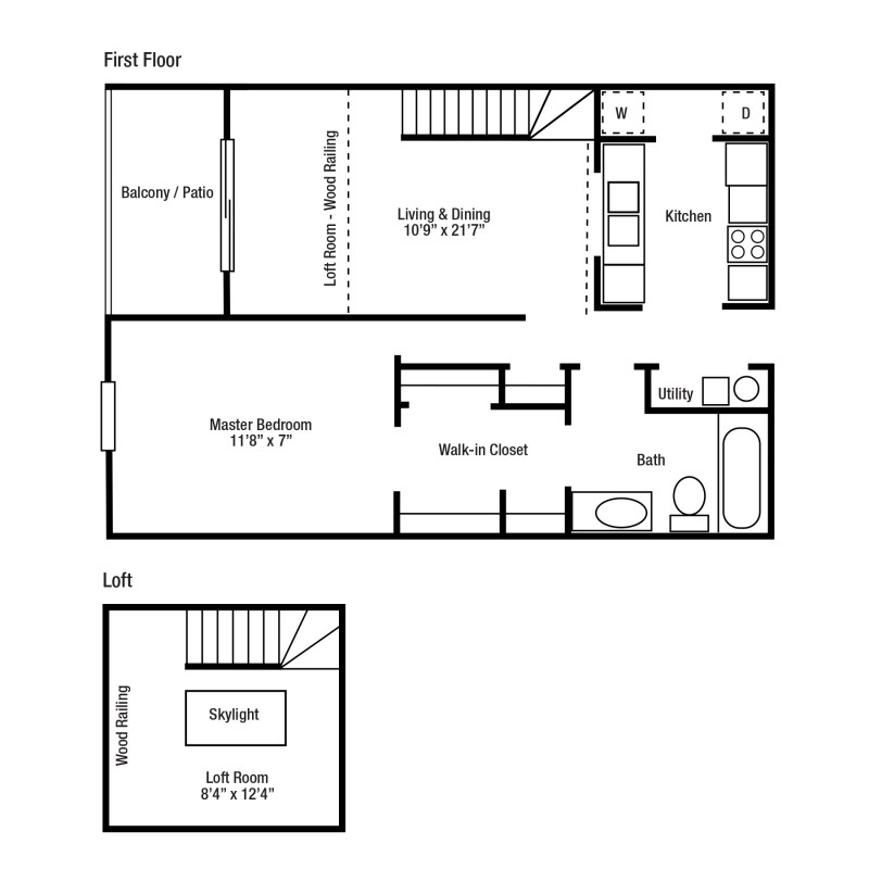 1A One Bed/One Bath, Some With Lofts | Yorkshire Woods Apartments and Townhomes