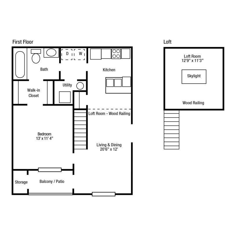 1B One Bed/One Bath, Some With Lofts | Yorkshire Woods Apartments and Townhomes