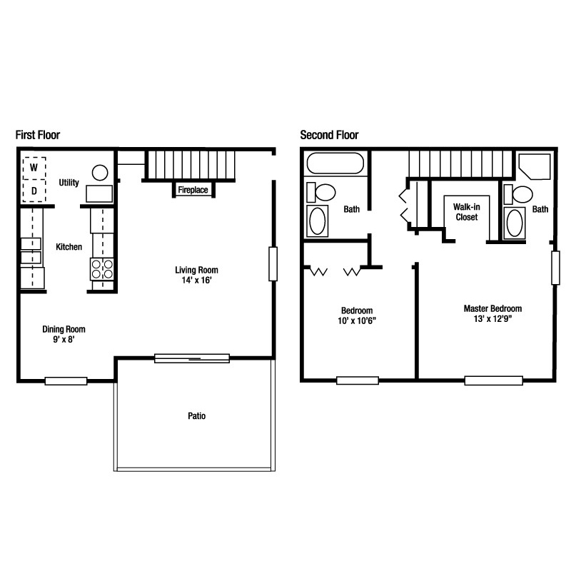 2A - Ascot | Two Bed/Two Bath Townhome | Yorkshire Woods Apartments and Townhomes