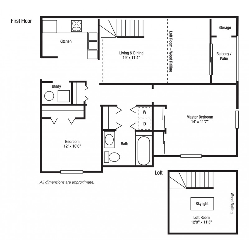 2F - Two Bed/One Bath, Some With Lofts | Yorkshire Woods Apartments and Townhomes