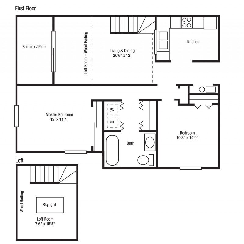 2G - Two Bed/One Bath, Some With Lofts | Yorkshire Woods Apartments and Townhomes